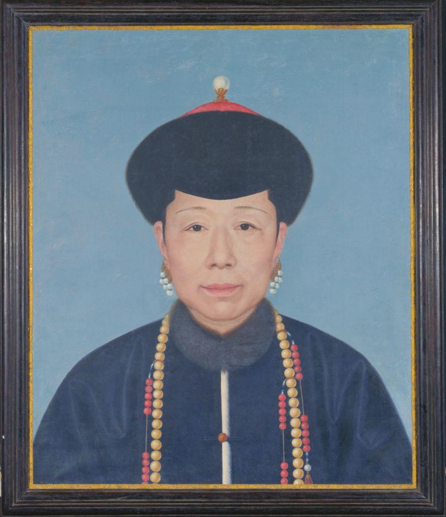 清人画孝圣宪皇后半身像屏